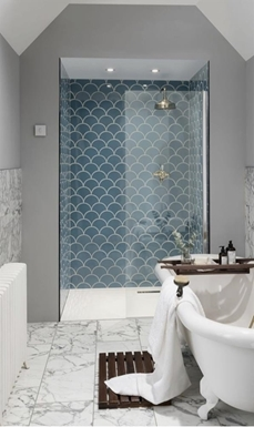 Shop the Look⇒ Glossy Marble & Mermaid Scale Tiles